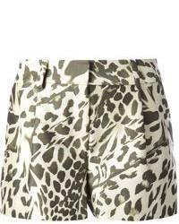 Pantalones cortos de leopardo en blanco y negro de Diane von Furstenberg