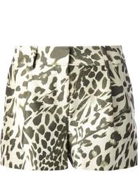 Pantalones cortos de leopardo marrón claro de Diane von Furstenberg