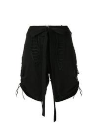 Pantalones cortos de lino negros de Saint Laurent