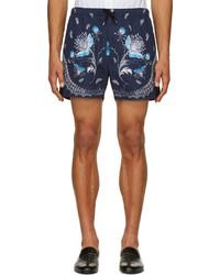 Pantalones cortos de paisley azul marino