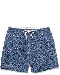 Pantalones cortos de paisley azul marino de Isaia