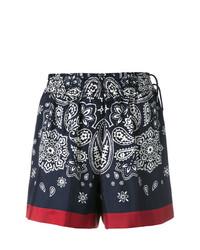 Pantalones cortos de paisley azul marino de Moncler