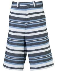 Pantalones Cortos de Rayas Horizontales Blancos y Azul Marino