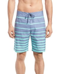 Pantalones cortos de rayas horizontales celestes