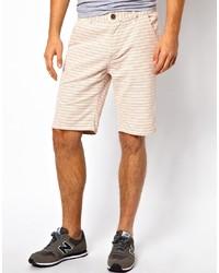 Pantalones cortos de rayas horizontales en beige
