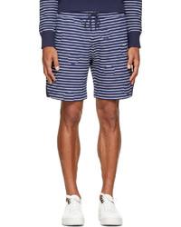 Pantalones cortos de rayas horizontales en blanco y azul marino de Kenzo