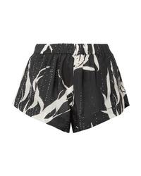 Pantalones cortos de satén estampados negros de Double Rainbouu