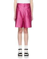 Pantalones Cortos de Satén Rosa de Miu Miu