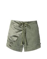 Pantalones Cortos de Satén Verde Oliva de Greg Lauren