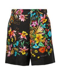 Pantalones cortos de seda con print de flores negros de Gucci
