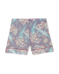 Pantalones cortos de seda con print de flores violeta claro de The Elder Statesman