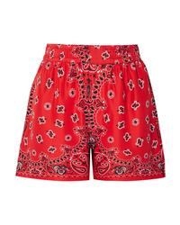 Pantalones cortos de seda de paisley rojos de Alexander Wang