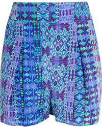 Pantalones cortos de seda estampados en turquesa de Matthew Williamson
