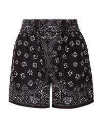 Pantalones cortos de seda estampados negros de Alexander Wang