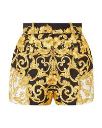 Pantalones cortos de seda estampados negros de Versace