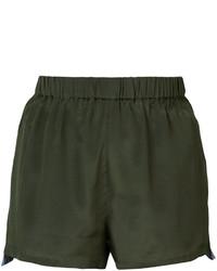 Pantalones cortos de seda verde oliva de Figue
