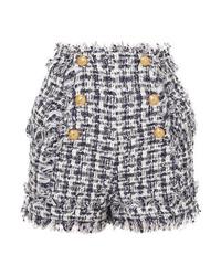 Pantalones cortos de tweed con adornos azul marino de Balmain