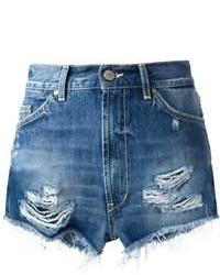 Pantalones cortos desgastados azules