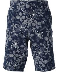Pantalones Cortos Estampados Azul Marino y Blancos