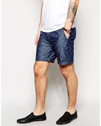 Pantalones cortos estampados azul marino de Asos