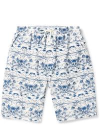 Pantalones Cortos Estampados Blancos y Azul Marino de White Mountaineering