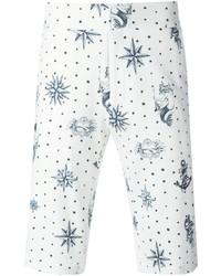 Pantalones Cortos Estampados Blancos y Azules de Alexander McQueen
