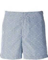 Pantalones cortos estampados en blanco y azul