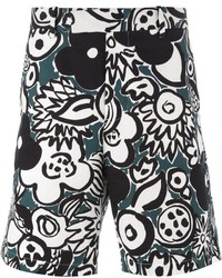 Pantalones cortos estampados en blanco y negro de Marni