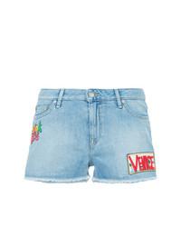 Pantalones cortos vaqueros bordados celestes de Mira Mikati