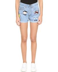 Pantalones cortos vaqueros bordados celestes de Paul & Joe Sister