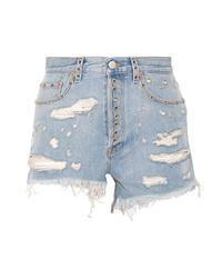 Pantalones cortos vaqueros con adornos celestes de Gucci