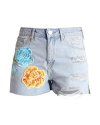 Pantalones cortos vaqueros con print de flores celestes de River Island