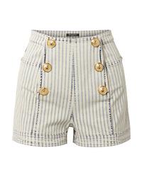 Pantalones cortos vaqueros de rayas verticales celestes de Balmain