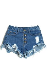 Pantalones cortos vaqueros desgastados azul marino