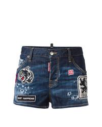 Pantalones cortos vaqueros desgastados azul marino de Dsquared2