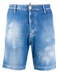 Pantalones cortos vaqueros desgastados azules de DSQUARED2
