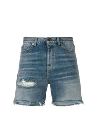 Pantalones cortos vaqueros desgastados azules de Saint Laurent