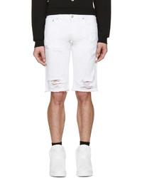 Pantalones cortos vaqueros desgastados blancos