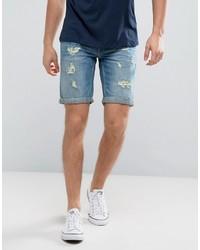 Pantalones cortos vaqueros desgastados celestes de Blend of America