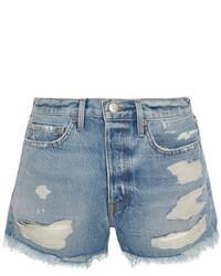 Pantalones Cortos Vaqueros Desgastados Celestes de Frame