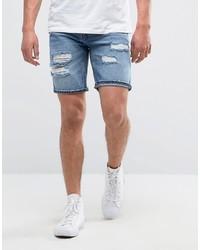 Pantalones cortos vaqueros desgastados celestes de Pull&Bear