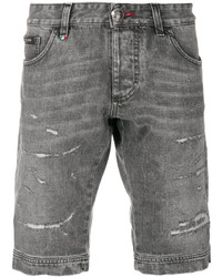 Pantalones cortos vaqueros desgastados grises de Philipp Plein