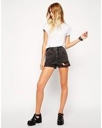 Pantalones cortos vaqueros desgastados negros de Asos