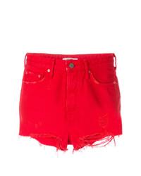 Pantalones cortos vaqueros desgastados rojos de Grlfrnd