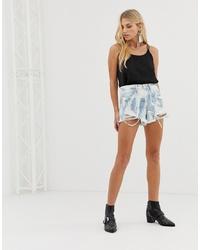 Pantalones cortos vaqueros efecto teñido anudado blancos de Blank NYC