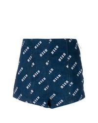 Pantalones cortos vaqueros estampados azul marino de MSGM