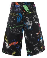Pantalones cortos vaqueros estampados negros de Moschino