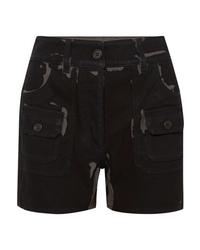 Pantalones cortos vaqueros estampados negros de Prada