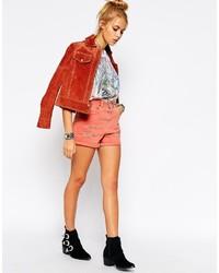Pantalones cortos vaqueros rojos de Asos