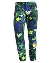 Pantalones de Flores Azul Marino